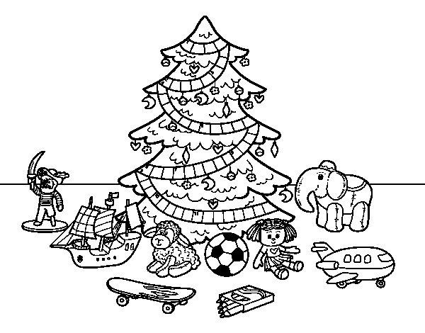 Dibujos De Arboles De Navidad Para Imprimir En Linea: Dibujo De Árbol De Navidad Y Juguetes Para Colorear