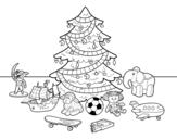 Dibujo de Árbol de Navidad y juguetes