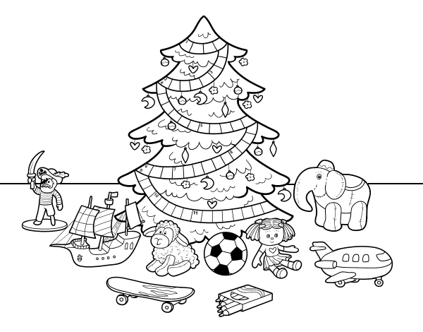dibujo de rbol de navidad y juguetes para colorear dibujosnet - Dibujo Arbol De Navidad