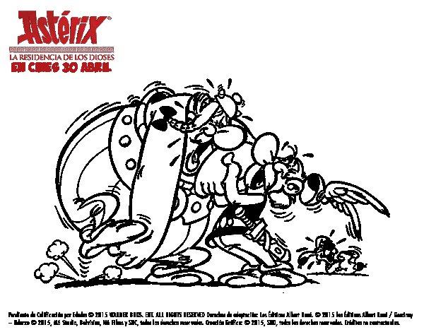 Dibujo de Astérix y Obélix riendo para Colorear