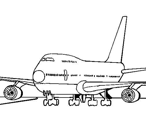 Dibujo de Avión en pista para Colorear