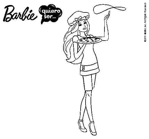 Dibujo de Barbie cocinera para Colorear