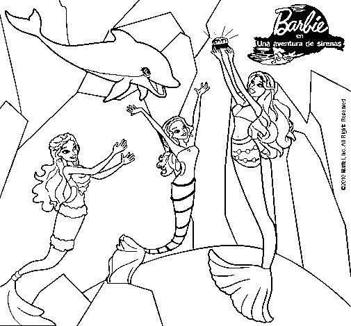 Dibujo De Barbie Con La Perla Marina 1 Para Colorear