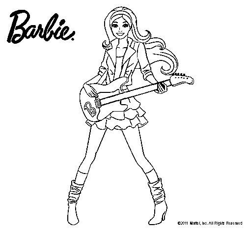 Dibujo de Barbie guitarrista para Colorear