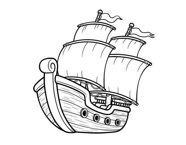 Dibujo de Barco de vela para Colorear  Dibujosnet