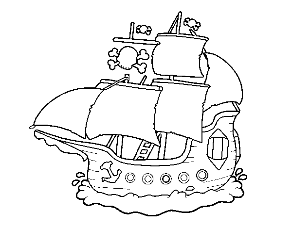 Dibujo de Barco pirata para Colorear  Dibujosnet