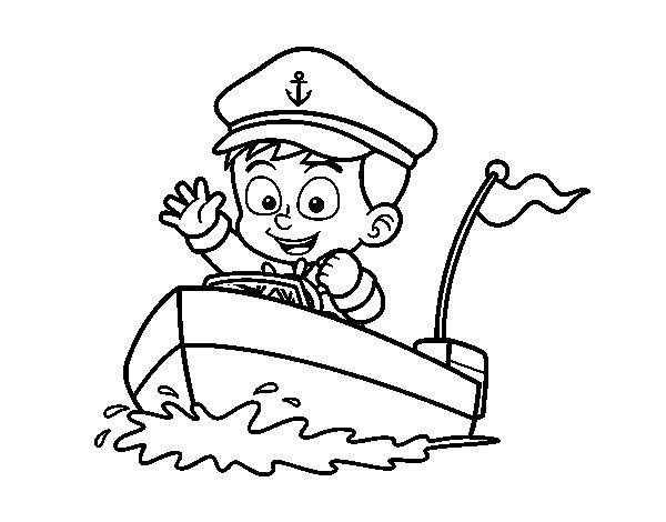 Dibujo de Barco y capitán para Colorear