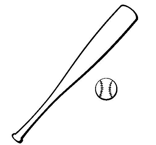 Dibujo de Bate y bola de béisbol para Colorear