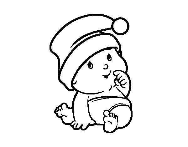 Dibujo de Bebé con Gorro de Santa Claus para Colorear