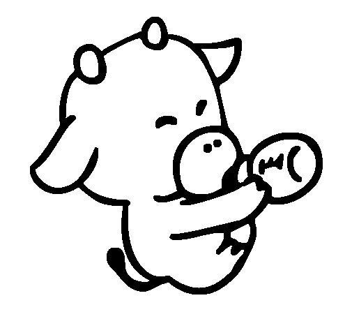 Dibujo de Bebe vaca para Colorear
