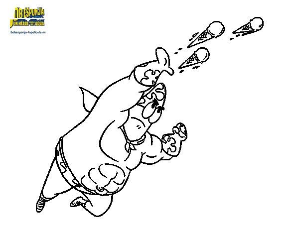 Dibujo de Bob Esponja - Sr súper dúper disparando para Colorear