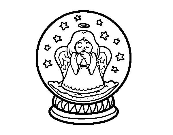 Dibujo de Bola de nieve con ángel para Colorear