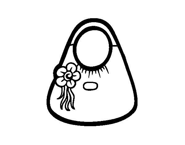 Dibujo de Bolso de asas con flor para Colorear