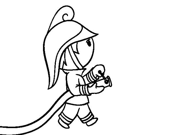 Dibujo de Bombero con la manguera para Colorear