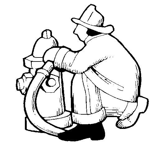 Dibujo de Bombero en la boca de incendios para Colorear