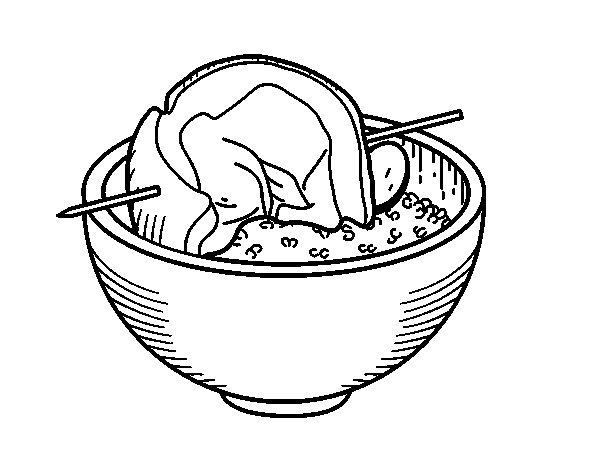 Dibujo de Brocheta de carne con arroz para Colorear