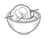 Dibujo de Brocheta de carne con arroz