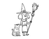 Dibujo de Bruja con gato de Halloween para colorear