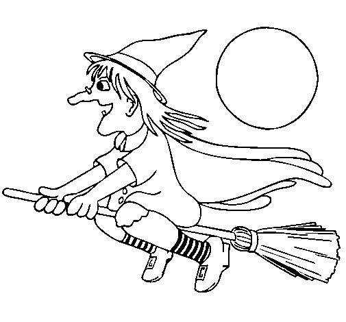 Dibujo de Bruja en escoba voladora 1 para Colorear