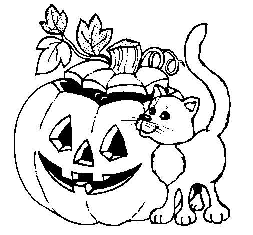 Dibujo de Calabaza y gato para Colorear