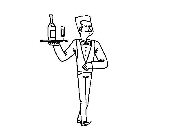 Dibujo de Camarero francés para Colorear