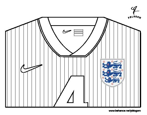 Dibujo de Camiseta del mundial de fútbol 2014 de Inglaterra para Colorear