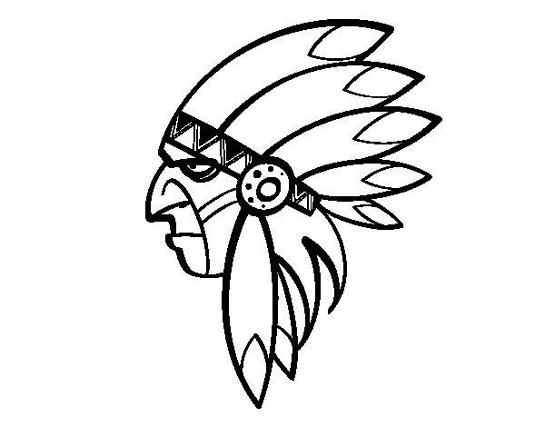 Dibujo de Cara del indio jefe para Colorear