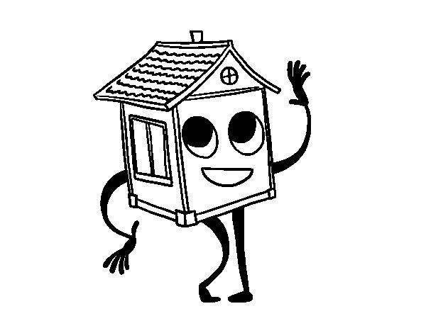 Dibujo de Casa saludando para Colorear