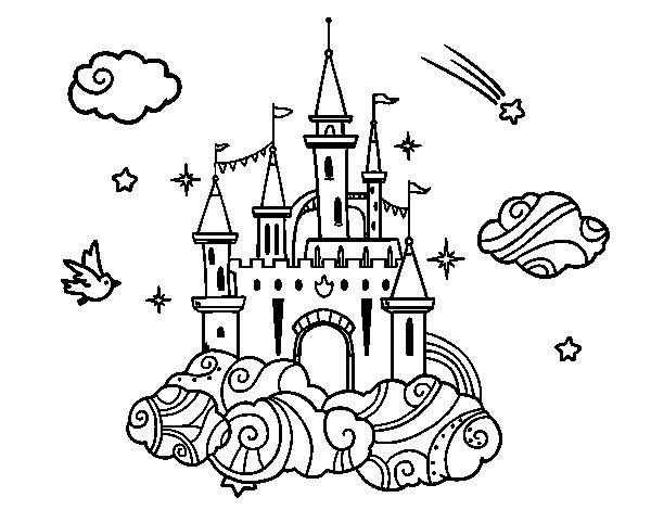 Dibujo de Castillo en las nubes para Colorear