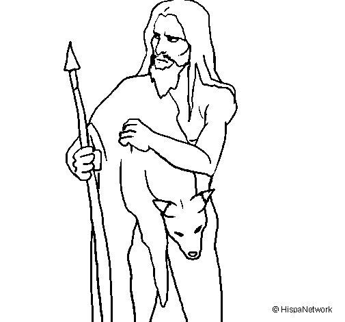 Dibujo de Cazador con su presa para Colorear