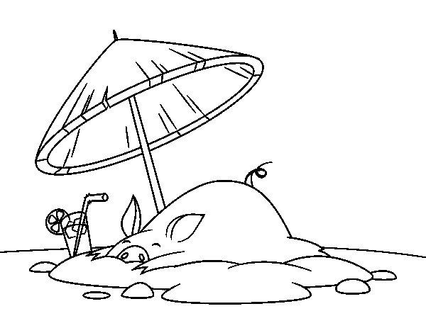 Dibujo de Cerdito en la playa para Colorear
