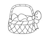 Dibujo de Cesta con huevo de Pascua para colorear