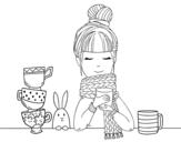 Dibujo de Chica con bufanda y taza de té para colorear
