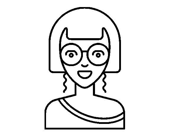 Dibujo de Chica con gafas redondas para Colorear