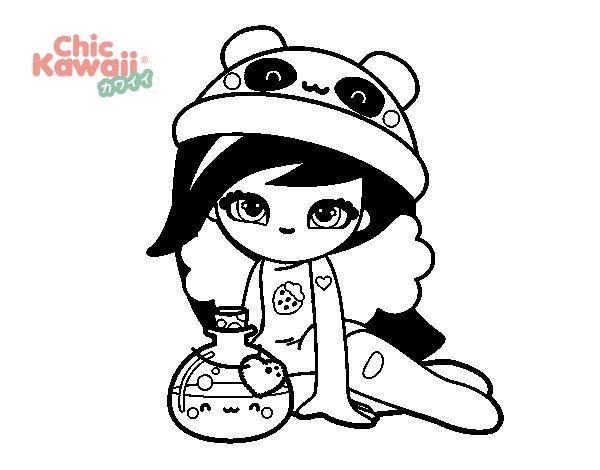 Harley Quinn Kawaii Para Colorear: Dibujo De Chica Kawaii Para Colorear
