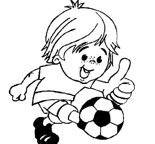 Dibujo de Chico jugando a fútbol para Colorear