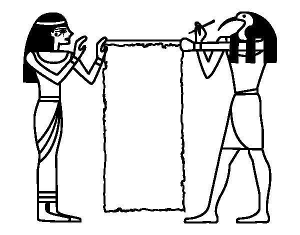 Dibujo de Cleopatra y Thot para Colorear