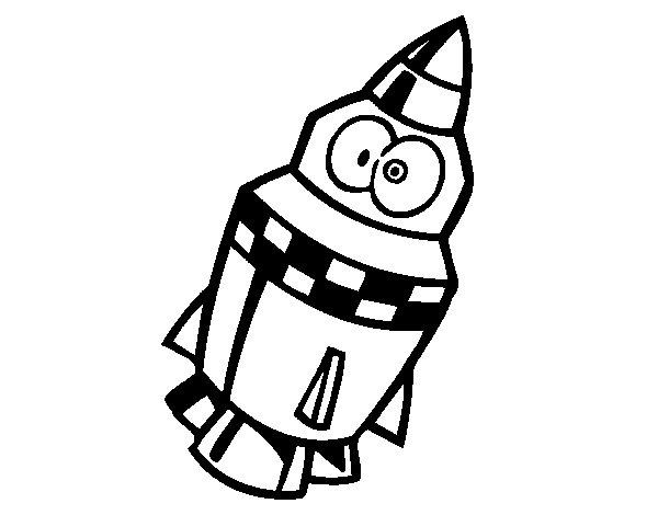 Dibujo de Cohete con ojos para Colorear