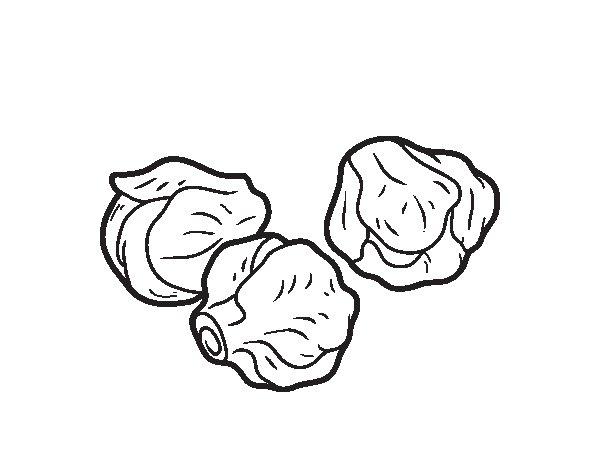 Dibujo de Coles de Bruselas para Colorear
