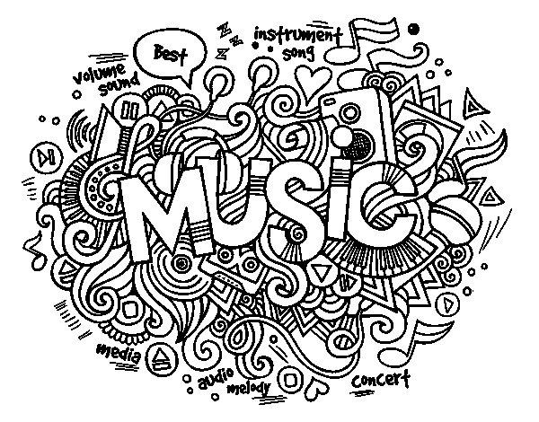 Dibujo de Collage musical para Colorear