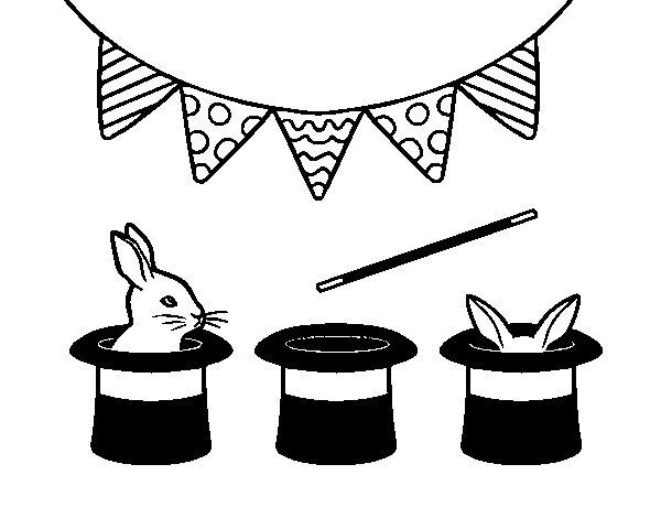 Dibujo de Conejos y chisteras para Colorear