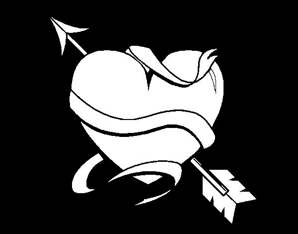 Dibujo de Corazn con flecha III para Colorear  Dibujosnet