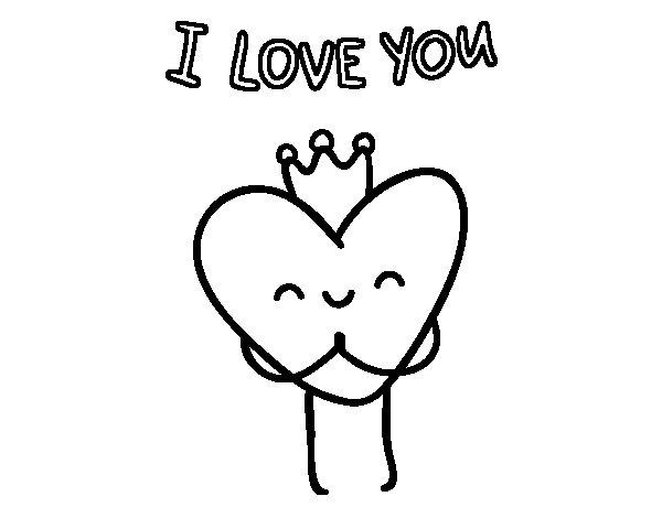 Dibujo de Corazón I love you para Colorear