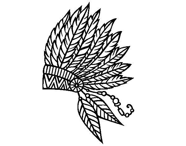 Dibujo de Corona de plumas india para Colorear - Dibujos.net