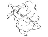 Dibujo de Cupido con su flecha para colorear