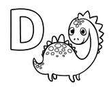 Dibujo de D de Dinosaurio para colorear