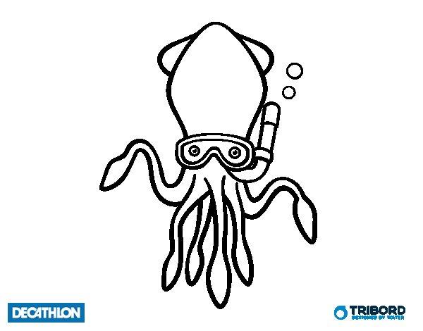Dibujo de Decathlon - Sepia buceadora para Colorear