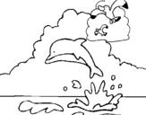 Dibujo de Delfín y gaviota para colorear