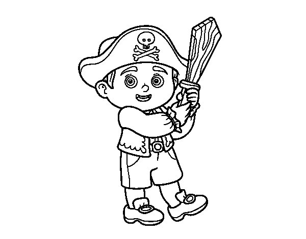 Dibujo de Disfraz de pirata para Colorear