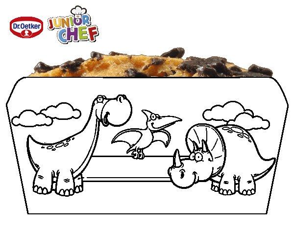 Dibujo de Dr Oetker Junior Chef Molde dinosaurios para Colorear